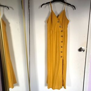 Urban Romantics Mustard Yellow Midi Dress